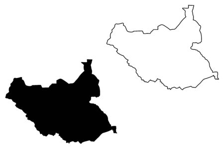 South Sudan map vector illustration, scribble sketch South Sudan