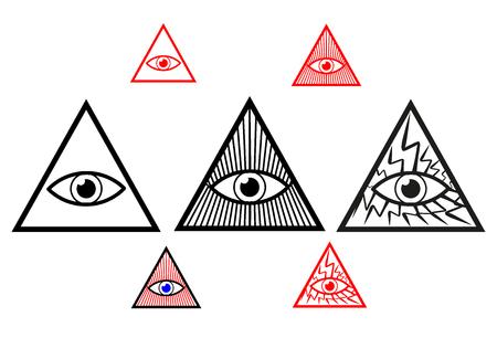 Goddelijk oog, alles ziend oog van god, oog van voorzienigheid, Stock Illustratie