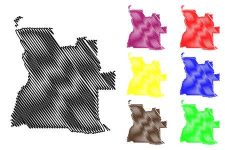 Angola map vector illustration, scribble sketch Angola