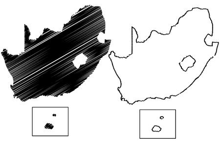 South Africa map vector illustration, scribble sketch FSA, Prince Edward Island, Marion Island,  Illustration