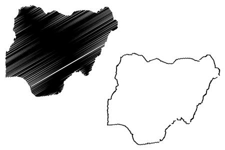 national geographic: Nigeria map vector illustration, scribble sketch Federal Republic of Nigeria