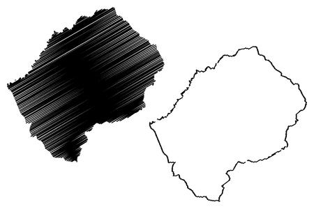 Lesotho map vector illustration, scribble sketch Lesotho