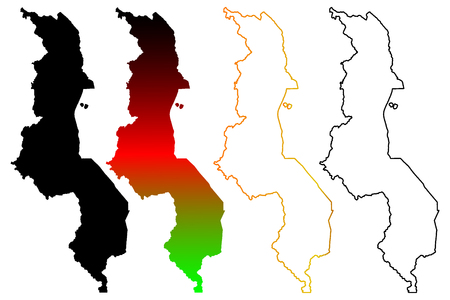 Malawi map vector illustration, scribble sketch Republic of Malawi