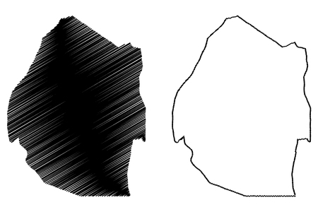 Swaziland map vector illustration, scribble sketch Swaziland