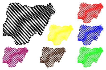 Nigeria map vector illustration, scribble sketch Federal Republic of Nigeria