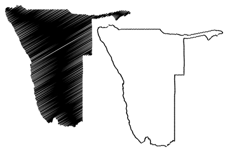 Namibia map vector illustration, scribble sketch Namibia