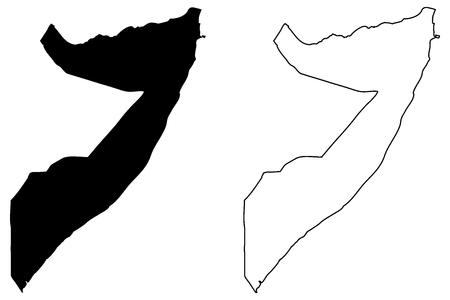 Somalia map in scribble sketch illustration.