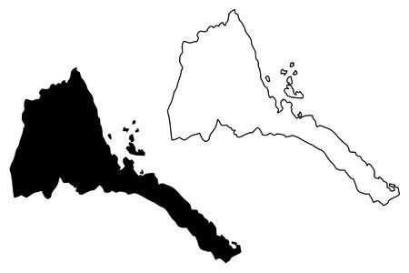 Eritrea map vector illustration, scribble sketch State of Eritrea
