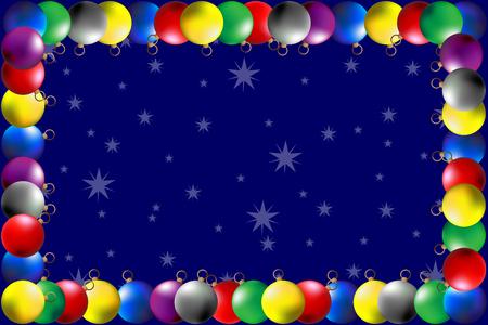 Frame - colorful Christmas balls, Vector Christmas frame with christmas balls,  Illustration