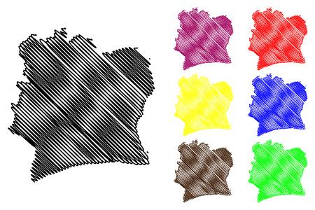 Ivory Coast map vector illustration, scribble sketch Republic of Côte dIvoire.