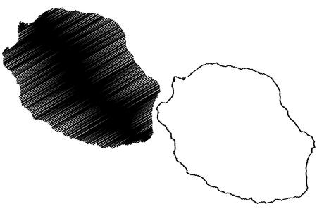 Reunion island map vector illustration, scribble sketch Le Reunion