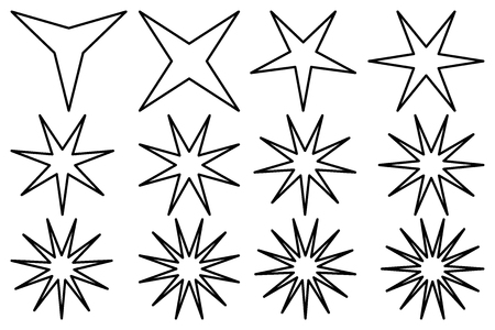 Star of different design, vector set illustration on white background