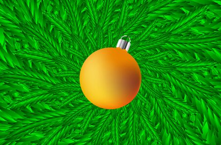 Green coniferous branches and Christmas ball - vector pattern, Spruce branch in green tone,