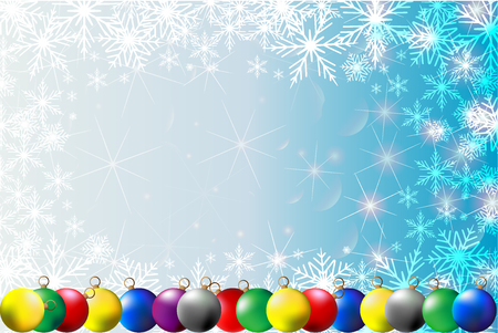 Christmas balls, snowflakes and stars - winter vector pattern - white and blue background