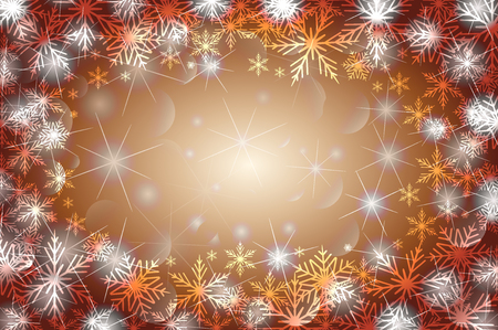 Snowflakes and stars - winter vector pattern - copper background Illustration