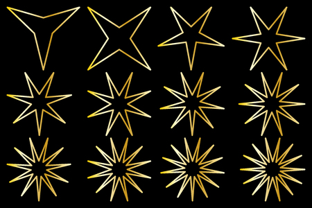 Star vector set,  gold on black background