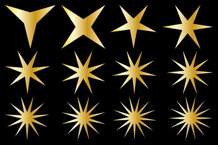 Star vector set, gold on black background