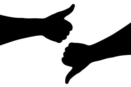 Thumbs up, thumbs down vector illustration. Illustration