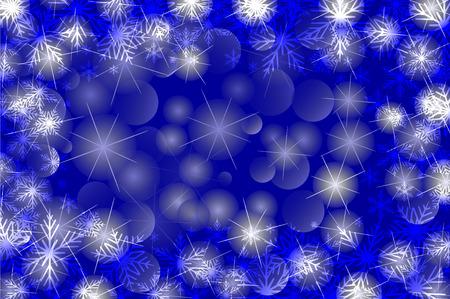 Copos de nieve y estrellas - patrón de vector de invierno - fondo azul