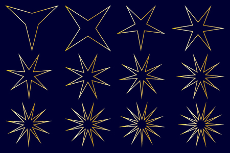 Star - vector set - gold on blue background