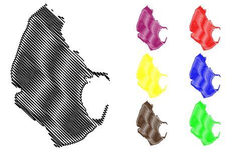 Melilla map vector illustration, scribble sketch Port of Melilla Illustration