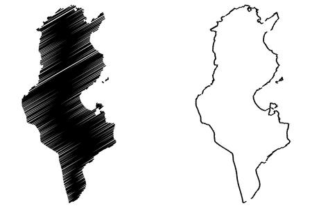 Tunisia map illustration. Illustration