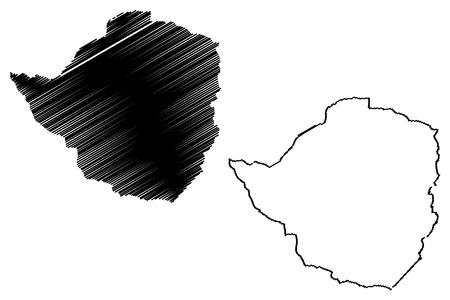 Zimbabwe map vector illustration, scribble sketch Republic of Zimbabwe.
