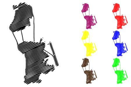 Macau map vector illustration, scribble sketch Macau  イラスト・ベクター素材