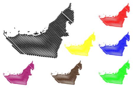United Arab Emirates map vector illustration, scribble sketch UAE Illustration