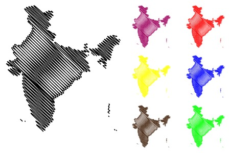 India map vector illustration, scribble sketch Republic of India.