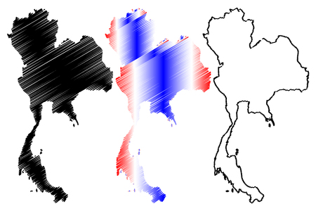Thailand map vector illustration, scribble sketch Kingdom of Thailand(Siam),