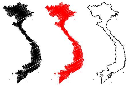 Vietnam map vector illustration, scribble sketch Socialist Republic of Vietnam