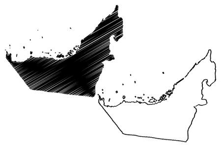 United Arab Emirates map vector illustration, scribble sketch UAE 向量圖像