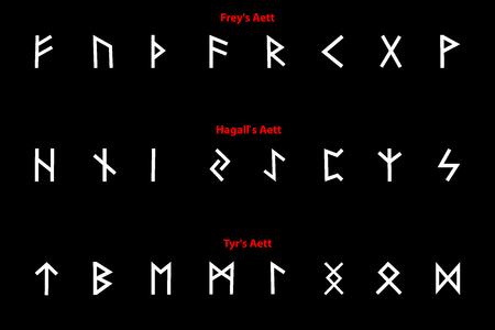Elder futhark runes - black and white Vector illustration.