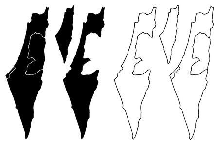 イスラエル地図ベクトルイラスト、落書きスケッチ状態イスラエル、西岸とガザストリップ