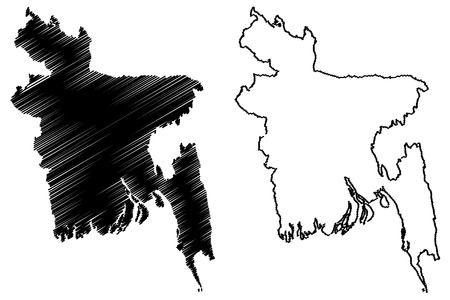 Bangladesh map vector illustration, scribble sketch Peoples Republic of Bangladesh Illustration