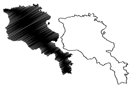 Armenia map vector illustration, scribble sketch Republic of Armenia