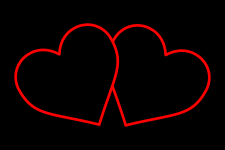 Two hearts red pattern on a black background.