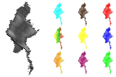 ミャンマー地図ベクトル イラスト、落書きはミャンマー、ビルマ共和国をスケッチします。