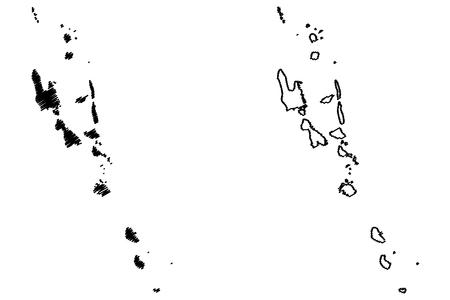 バヌアツ地図ベクトルイラスト、落書きスケッチバヌアツ共和国、ニューヘブリデス、