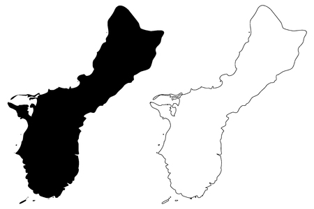 Guam map vector illustration, scribble sketch Guam Island