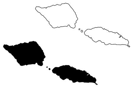 Samoa map vector illustration, scribble sketch Independent State of Samoa, Western Samoa,