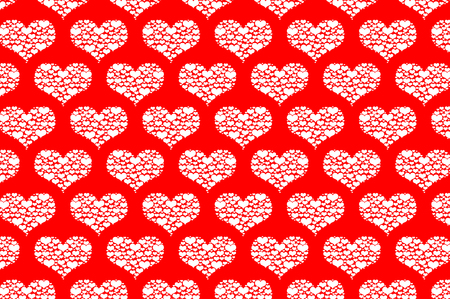 White heart vector pattern, white pattern on a red background. Illustration