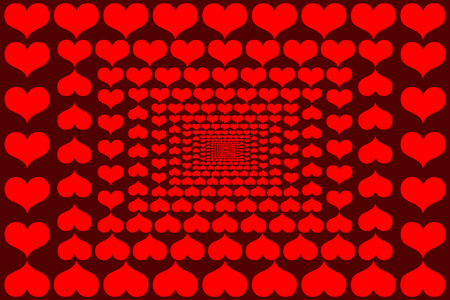 Red hearts vector pattern.