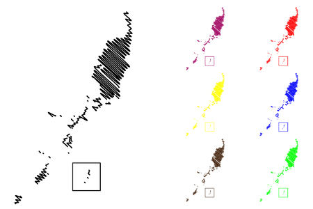 Palau map vector illustration, scribble sketch Republic of Palau Illustration