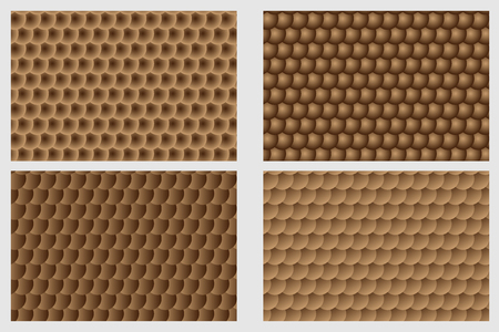Fish scale pattern, Simple circular background - brown set - vector circle pattern 일러스트