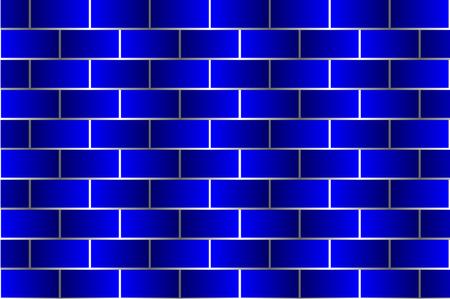 Blue bricks - vector pattern, Brick wall - blue background,