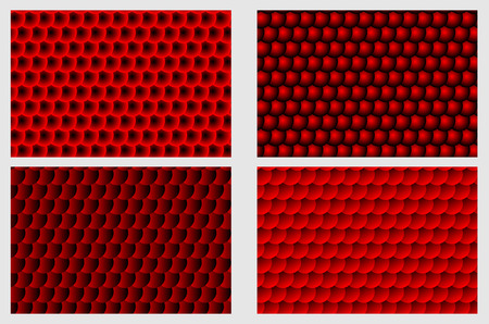 Fish scale pattern, Simple circular background - red set - vector circle pattern