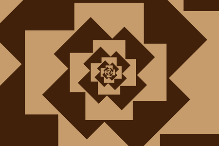 Spiral of rotating squares, Spiral from squares - brown pattern Illustration