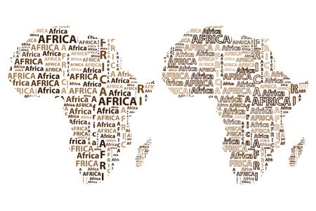 Dibuje el continente africano del texto de la letra, palabra africana - en la forma del continente, mapa del continente África - ilustración vectorial